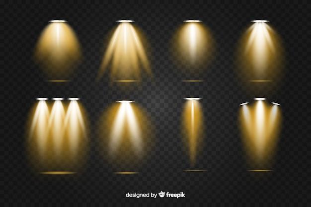 Colección realista de iluminación de escena dorada