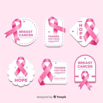 Colección realista de insignias de concientización sobre el cáncer de mama