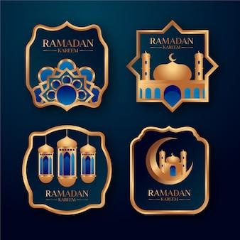 Colección realista de insignias de ramadán