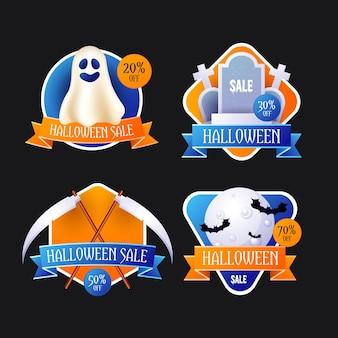 Colección realista de insignias de rebajas de halloween
