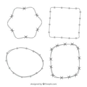 Colección realista de marco de alambre de púas