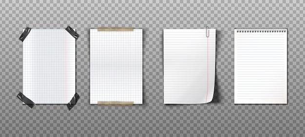 Colección realista de notas de papel con cintas, clip y cuaderno de espiral.