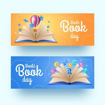 Colección realista de pancartas del día mundial del libro