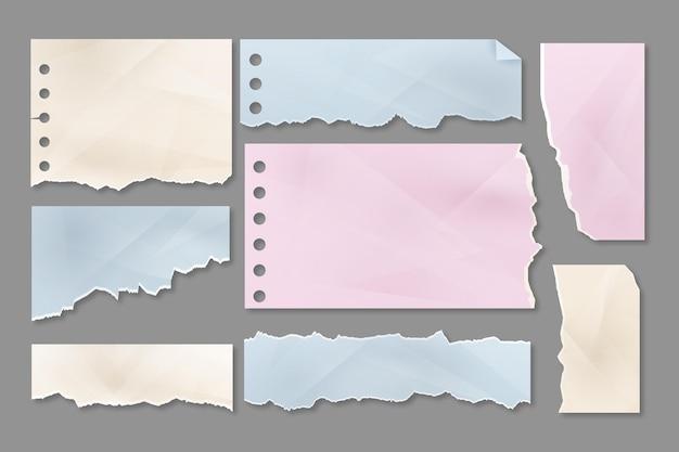 Colección realista de papel rasgado