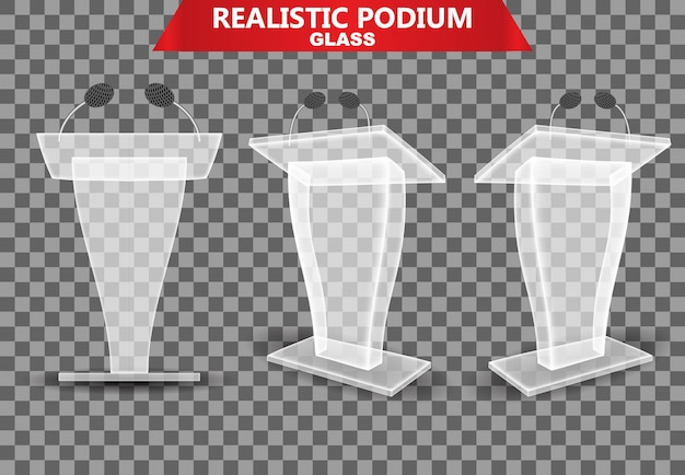 Colección realista de podios de vidrio