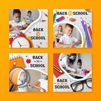 Colección realista de publicaciones de instagram de regreso a la escuela con foto