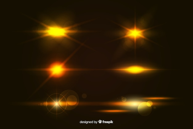 Colección realista de ráfagas de luz