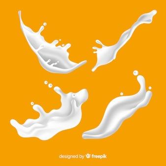 Colección realista de salpicaduras de leche