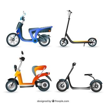 Colección realista de scooters eléctricos