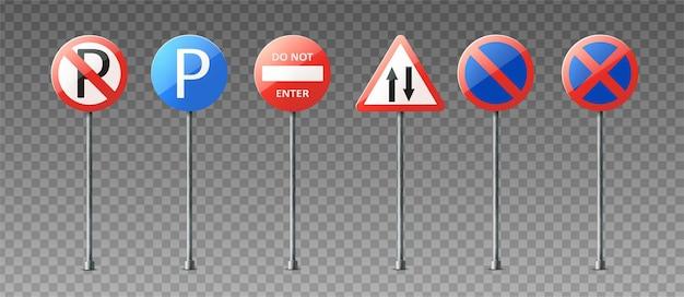 Colección realista de señales de tráfico de advertencia e información que muestran direcciones