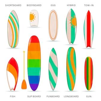 Colección realista de tablas de surf de colores