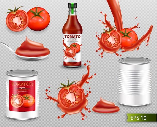 Colección realista de tomates con splash.