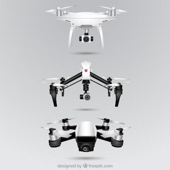 Colección realista de tres drones