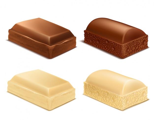 Colección realista de trozos de chocolate, barras de leche marrón y blanca.