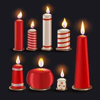 Colección realista de velas de navidad