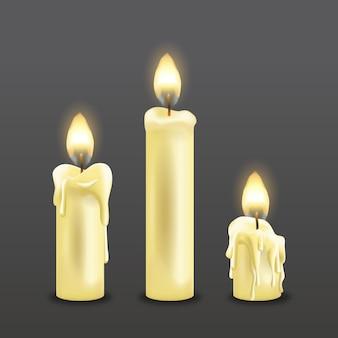 Colección realista de velas navideñas