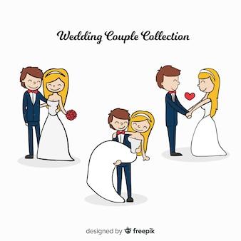 Colección recién casados dibujados a mano