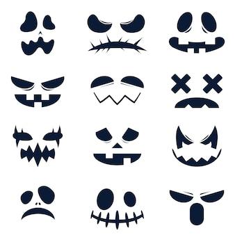 La colección y el recurso gráfico de caras divertidas y aterradoras de calabaza de halloween o fantasma en estilo de vector plano.