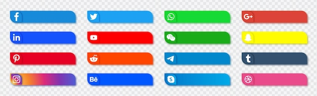 Colección de redes sociales de botones de logotipos de redes