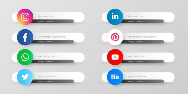 Colección de redes sociales tercios inferiores
