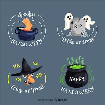 Colección redonda de insignias de halloween