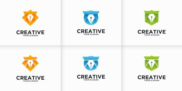 Colección de referencia de logotipos de bolígrafos para negocios, aplicaciones, educación y otros