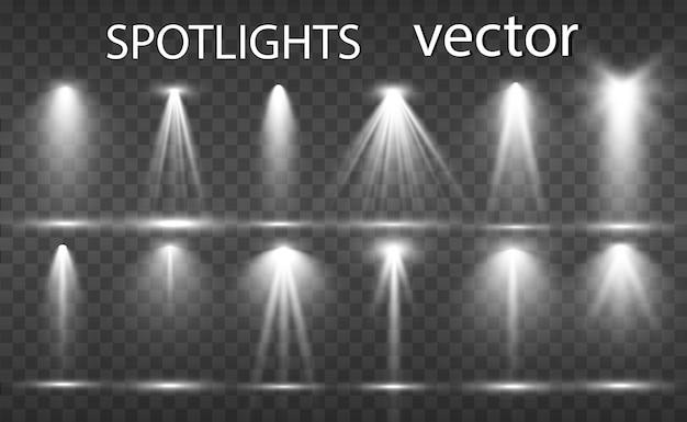 Colección de reflectores para iluminación escénica, efectos transparentes de luz. hermosa iluminación brillante con focos.