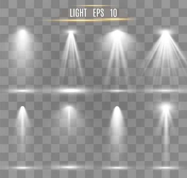 Colección de reflectores para iluminación escénica, efectos transparentes a la luz. hermosa iluminación brillante con focos.