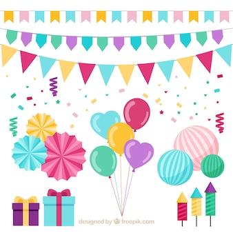 Colección de regalos y decoración de cumpleaños