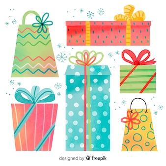 Colección de regalos de navidad en acuarela