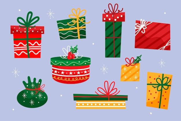 Colección de regalos de navidad dibujados a mano