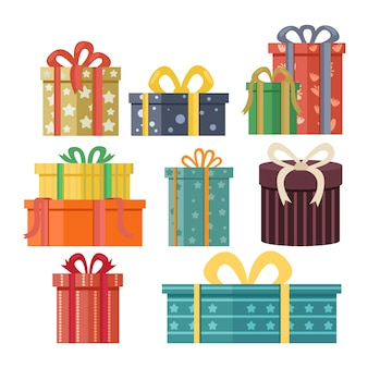 Colección de regalos de navidad de diseño plano