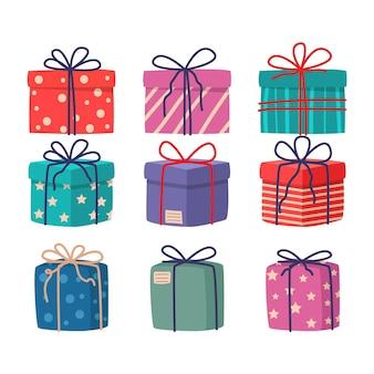 Colección de regalos de navidad en diseño plano