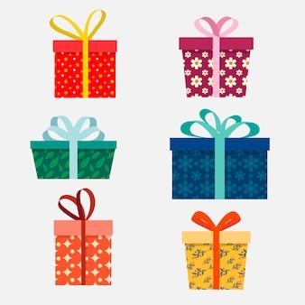 Colección de regalos de navidad planos