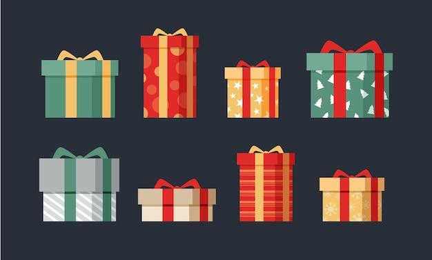 Colección de regalos navideños en diseño plano