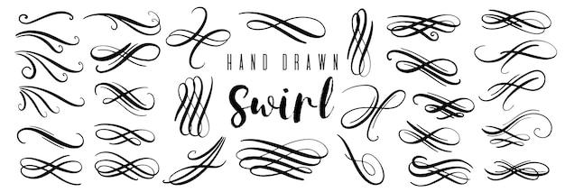 Colección de remolinos y rizos decorativos dibujados a mano