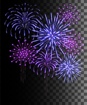 Colección resplandeciente. fuegos artificiales morados y azules, efectos de luz aislados sobre fondo transparente.