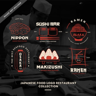Colección de restaurantes con logo de comida japonesa