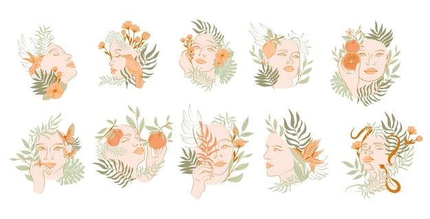 Colección de retrato de rostro de mujer hermosa con plantas y flores en un estilo de línea. mujeres abstractas florecientes. estilo minimalista