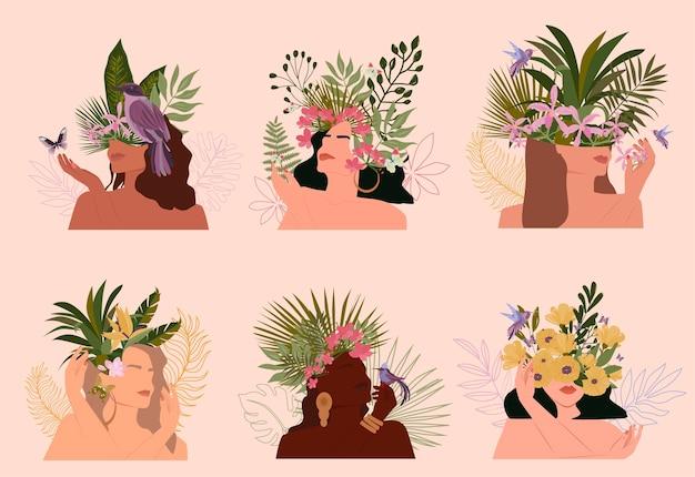 Colección de retratos abstractos de mujeres paradisíacas con diferente color de piel y plantas tropicales, estilo minimalista.