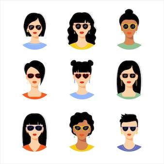 Colección de retratos de mujeres jóvenes con estilo chicas con diferentes peinados