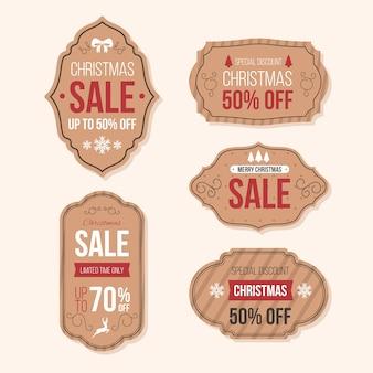 Colección retro de etiquetas de venta de navidad
