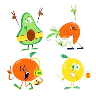 Colección retro de frutas y verduras de dibujos animados