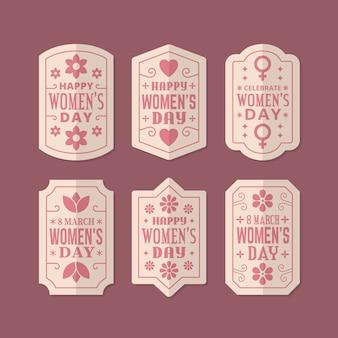 Colección retro de insignias del día de la mujer