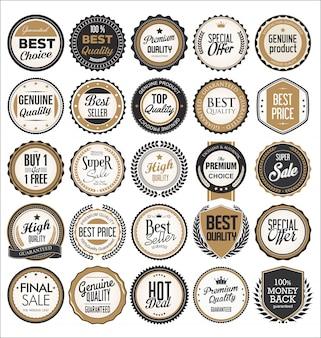 Colección retro de insignias y etiquetas vintage