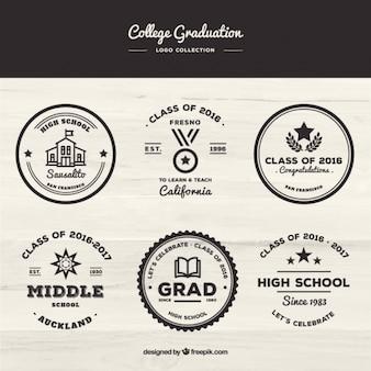 Colección retro de insignias de universidad