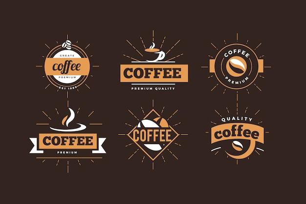 Colección retro de logo de cafetería