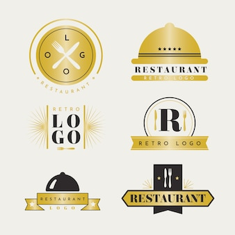 Colección retro de logo de restaurante dorado