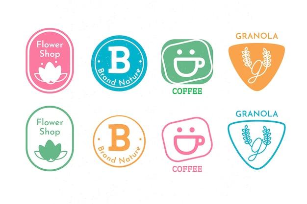 Colección retro de logos minimalistas coloridos