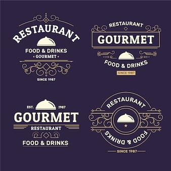 Colección retro de logos de restaurantes
